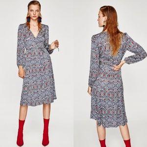 Zara Printed Wrap Midi Dress